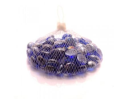 Набор синих стеклянных камушков, 200 гр