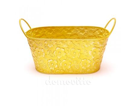 """Кашпо цветочный ящик """"Цветы"""" желтое, 22х11xh10"""