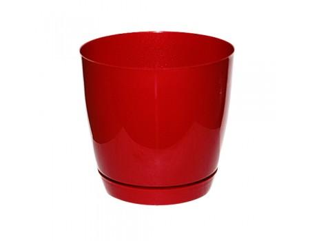 """Кашпо """"Тоскана"""", пластик. Цвет: Бордовый"""