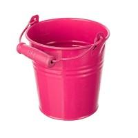 Ведерко с деревянной ручкой ярко-розовое