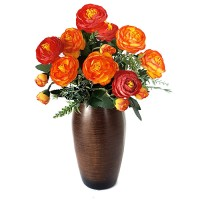 Букет камелии оранжевый, 38 см