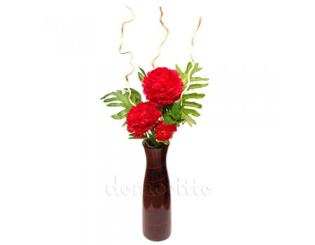 Букет с красным пионом интерьерный для напольной вазы, 110 см