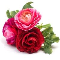 """Букетик-бутоньерка """"Ранункулюсы"""" розовый с красным, 19 см"""