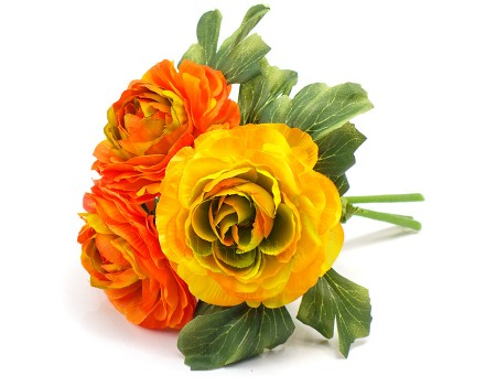 """Букетик-бутоньерка """"Ранункулюсы"""" желтый с оранжевым, 19 см"""