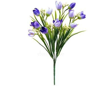 Крокус с травкой искусственный синий, 36 см