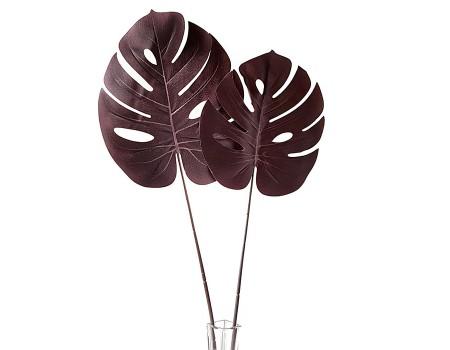 Лист монстеры искусственный бордовый, 68 см / 72 см