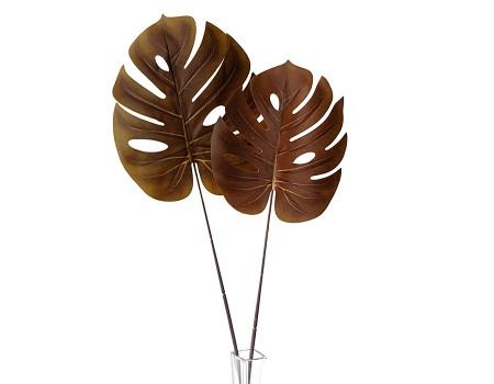 Лист монстеры искусственный коричневый, 68 см / 72 см