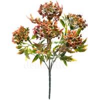 Осенний кустик с цветами пластик, 32 см