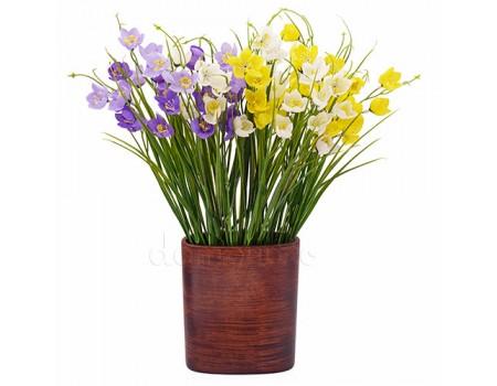 """Букет """"Первоцветы"""", 38 см. Цвета: Белый, Желтый, Фиолетовый"""