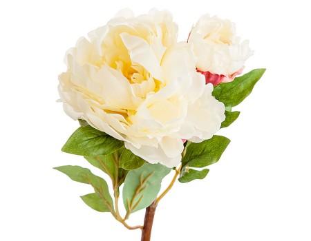 Пион с бутоном искусственный, 54 см. Цвета: Белый, Розовый