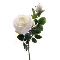 Роза с бутоном искусственная белая, 64 см