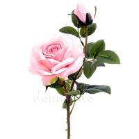 Роза с бутоном искусственная розовая, 64 см