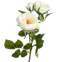 Искусственная ветка розы, 58 см. Цвета: Белый, Персиковый
