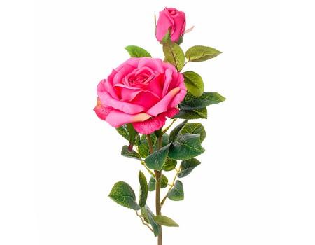 Ветка розы искусственная розовая, 62 см