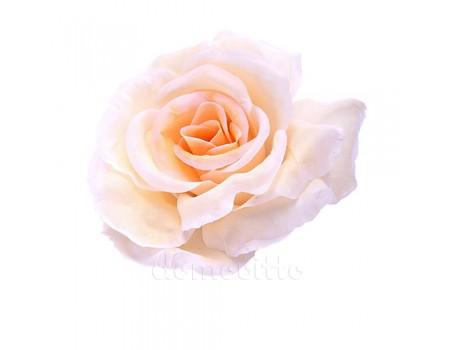 Голова розы искусственная кремовая, 12 см