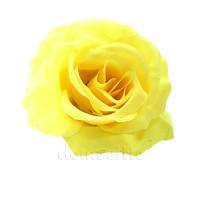Голова розы искусственная желтая, 12 см
