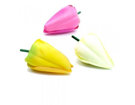 Голова тюльпана искусственная, 4х6 см. Разные цвета