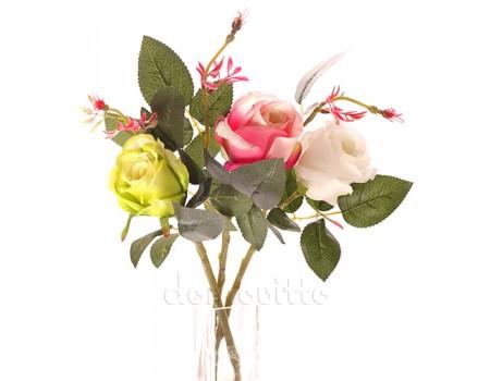 Веточка розы на короткой ножке, 43 см. Разные цвета