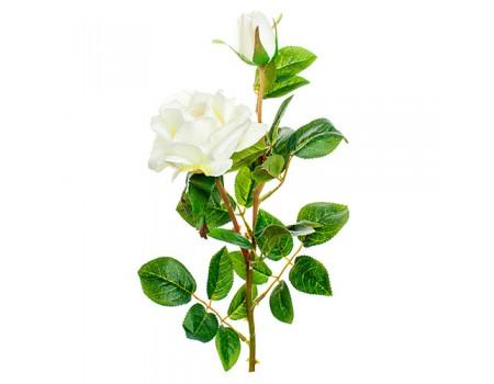 Ветка розы искусственная белая, 62 см
