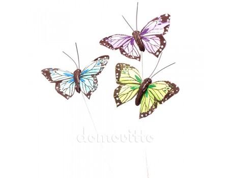 Бабочки из перьев на вставке, 8 х 15 см