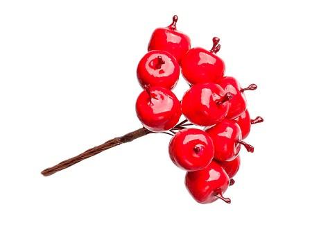 """Мини букетик """"Яблочки красные"""" 2,5 см 12 шт"""