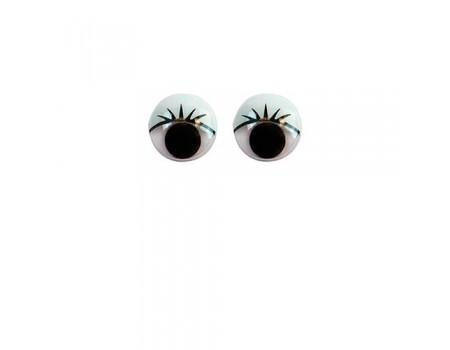 Глазки круглые с ресничками, 10 шт. Диаметр: 10 мм / 12 мм