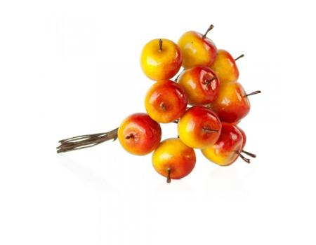 """Мини букетик """"Яблочки желто-красные"""" 2,2 см, 12 шт"""