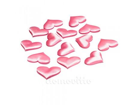 Набор розовых атласных сердечек, 50 шт. Два размера