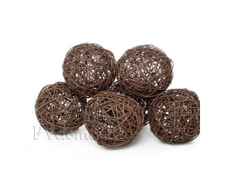 Набор плетеных шаров, диаметр 10 см, 6 шт. Разные цвета