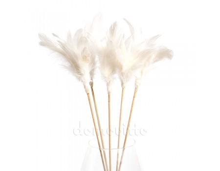 Перья на вставке белые, H35 см