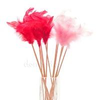 Перья на вставке, H30 см. Цвета: Красный, Розовый