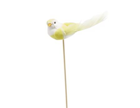 Птичка из перьев на вставке, 3х11хH32 см. Разные цвета