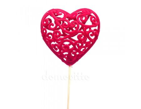 Сердце объемное ажурное на вставке. Цвета: Красный, Розовый