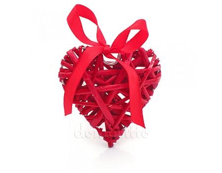Сердце плетеное из ивы маленькое, 8 см. Цвета: Красный, Белый