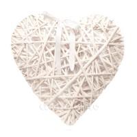 Сердце плетеное из ивы белое. Три размера