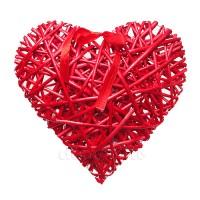 Сердце плетеное из ивы красное. Три размера