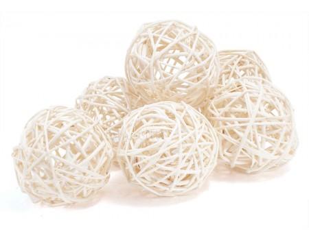 Набор плетеных шаров, диаметр 8 см, 6 шт. Цвет: Белый