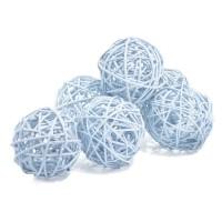 Набор плетеных шаров, диаметр 8 см, 6 шт. Цвет: Голубой