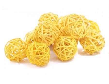 Набор плетеных шаров, диаметр 3 см, 12 шт. Цвет: Желтый