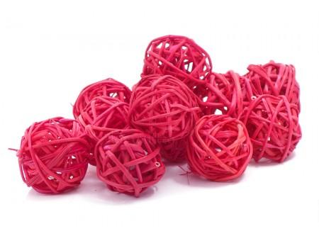 Набор плетеных шаров, диаметр 3 см, 12 шт. Цвет: Красный