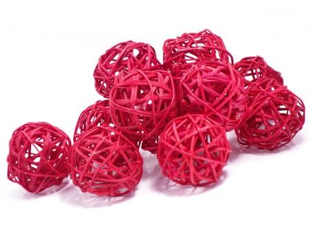 Набор плетеных шаров, диаметр 5 см, 12 шт. Цвет: Красный