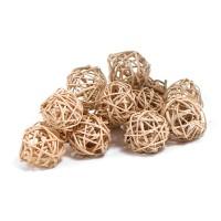Набор плетеных шаров, диаметр 3 см, 12 шт. Цвет: Натуральный