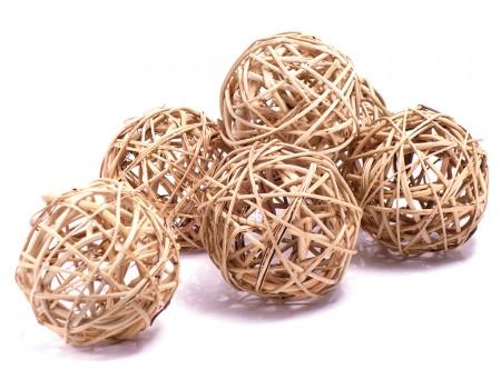 Набор плетеных шаров, диаметр 8 см, 6 шт. Цвет: Натуральный