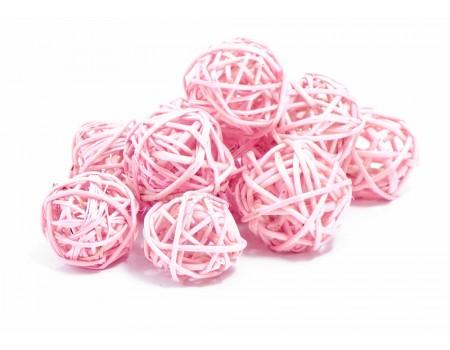 Набор плетеных шаров, диаметр 3 см, 12 шт. Цвет: Светло-розовый