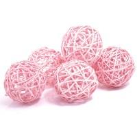 Набор плетеных шаров, диаметр 8 см, 6 шт. Цвет: Светло-розовый