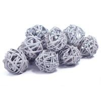 Набор плетеных шаров, диаметр 3 см, 12 шт. Цвет: Серый