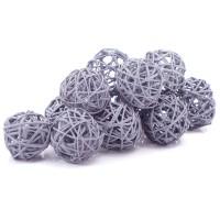 Набор плетеных шаров, диаметр 5 см, 12 шт. Цвет: Серый