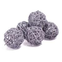 Набор плетеных шаров, диаметр 8 см, 6 шт. Цвет: Серый