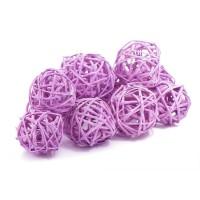 Набор плетеных шаров, диаметр 3 см, 12 шт. Цвет: Сиреневый