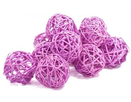 Набор плетеных шаров, диаметр 5 см, 12 шт. Цвет: Сиреневый